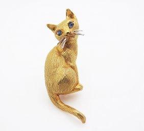Tiffany & Co Vintage 18k Gold Cat Brooch Lapiz Cat Eyes