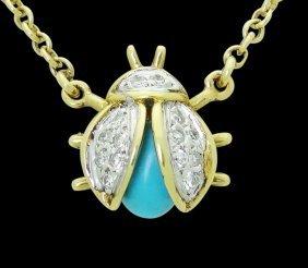 18k Yellow Gold Diamond & Turquoise Ladybug Necklace