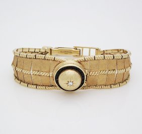 Lucien Piccard 14k Watch With Round Diamond & Rubies