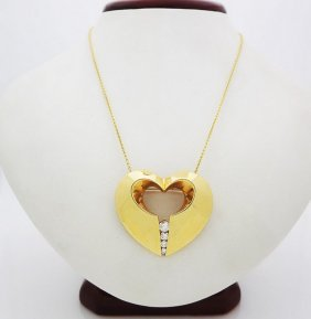 Krypell 18k Yellow Gold Diamond Heart Pendant/necklace