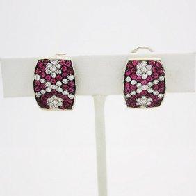 18k 1.7 Tcw Diamond 1.3 Tcw Ruby Clip On Stud Earrings