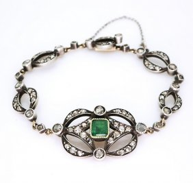 14k Gold Antique French Bracelet Diamonds & Emerald