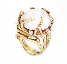 Vintage 14k Yellow Gold And Angel Skin Coral, Tree Ring