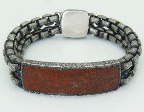 David Yurman 925 Silver Dinosour Bone Id Tag Bracelet