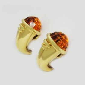 Bulgari Bvlgari 18k Gold Orange Citrine Clip On