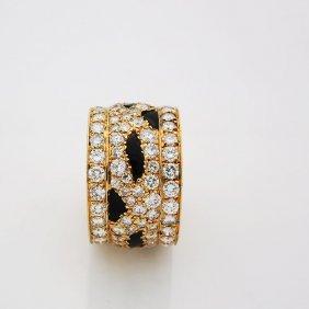 Cartier Panther Style 18k Gold Diamond Black Enamel Rin