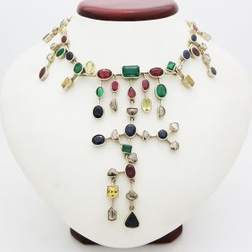 18k Yellow Gold Multi Color Gemstones Necklace