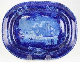 Deep Blue Historical Staffordshire Porcelain Platter By