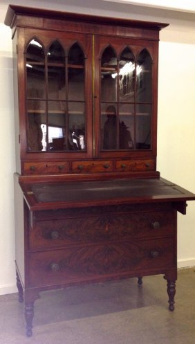 Fine Sheraton Mahogany Secretary Having Cathedral Doors