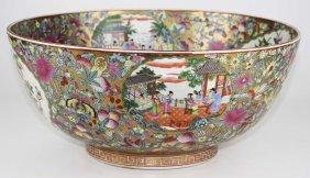 "19th C Chinese Rose Mandarin Punch Bowl, Dia 16"", Ht 7"""