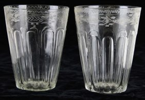 Pair Of Early Blown Clear Steigel Type Fluted And
