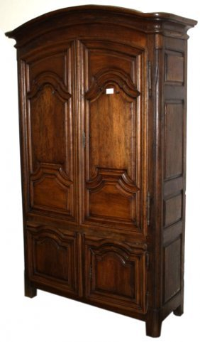 18th C French Fruitwood And Oak Curve Armoire Having