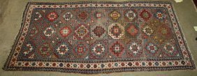 """Early 20th C Caucasian Area Rug, Uneven Wear, 3'7"""" X"""