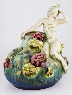 Monumental Amphora Austria Art Nouveau Era Pottery Vase