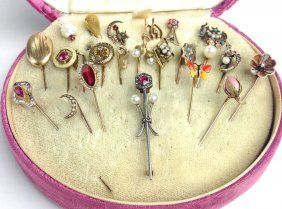 Collection Of 23 Stick Pins Incl Gold, Old Mine Cut