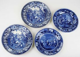 Pair Of Deep Blue Staffordshire Porcelain Plates By