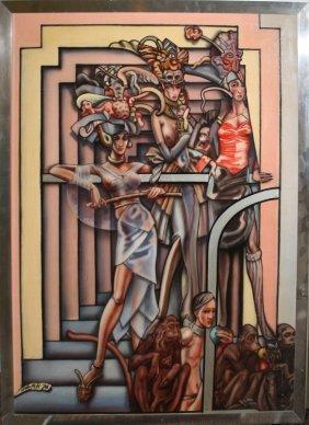 John H. Howard (american 1940-) Apes And Dames Acrylic
