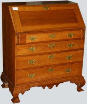 Massachusetts Chippendale Cherry, Slant Front Desk, Fan