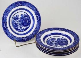 Set Of Six Fine Copeland Porcelain Late Flow Blue Soup