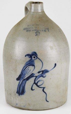 19th C New York Stoneware Co Ft Edward, Ny Blue Bird