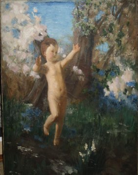 19thc American School O/c Allegory Of The Spring 24 X