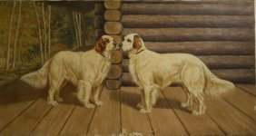 Hb Tallman (american 19th C) Pair Of Retrievers Outside