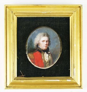 Early 19th C English Miniature Portrait On Board Of