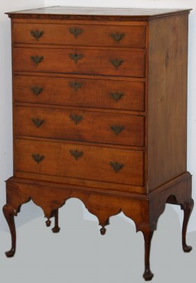 "36"" Queen Anne Maple 5 Drawer High Chest On Frame,"