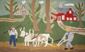Folky Mid 20th C Hooked Rug With Team Of Oxen, Farmers,