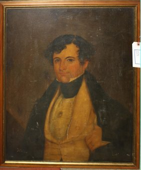 Early 19th C New England School Portrait Of A Gentleman