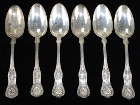 "Dominick & Haff ""king"" Pattern Serving Spoons, Marked"