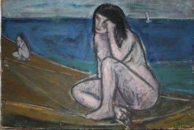 Akos Biro (hungary 1911-2002) Bathing Nudes O/c Signed