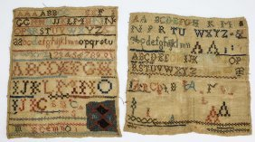 2 Early 19th C Schoolgirl Samplers, One Unfinished,