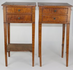 Pr Of 19th C Hepplewhite Curly Maple 2 Drawer Stands,