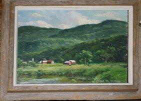Fred M Hines( Vermont/maine 20th C ) Farm Scene O/b 9 X