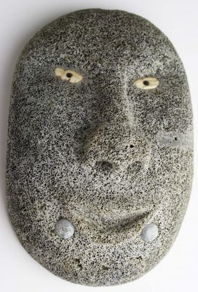 Inuit Whale Bone Mask With Walrus Ivory Eyes, Small