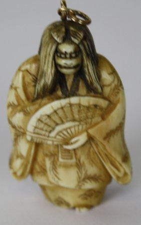 Japanese Ivory Netsuke- Face Changer- Hannya, Which In