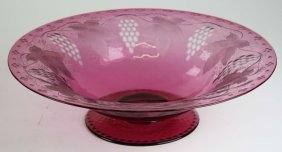 Large Pairpoint Cranberry Glass Cut To Clear Footed