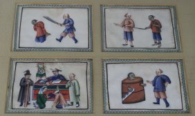 8 Chinese W/c's On Rice Paper Depicting Imprisonment &