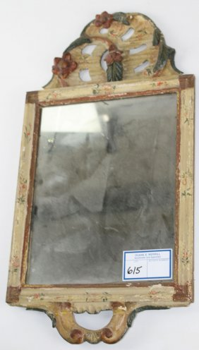 18th C Queen Anne Courting Mirror, Carved Floral And