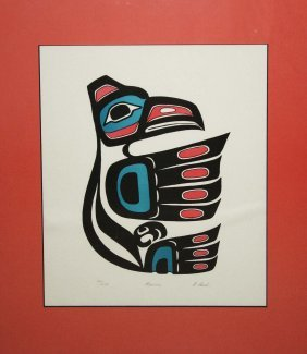"2 Inuit Woodblock Prints- R Pech ""raven"" 24/ 200 (13"