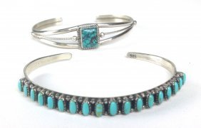 Two Navajo Sterling And Turquoise Bangles, One Signed