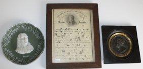 Dr Franklin Print, Medal, & Jasperware Plaque