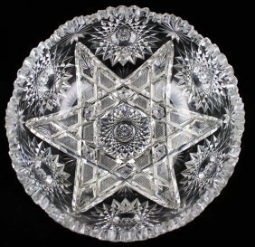 "American Brilliant Period Cut Glass Bowl 4"" X 9"""