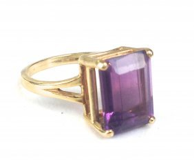 14k Ladies Ring With Emerald Cut Amethyst 12mm X 9mm X
