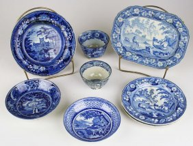 Lot Of 8 Pcs Of Damaged Blue Transfer Dec Staffordshire