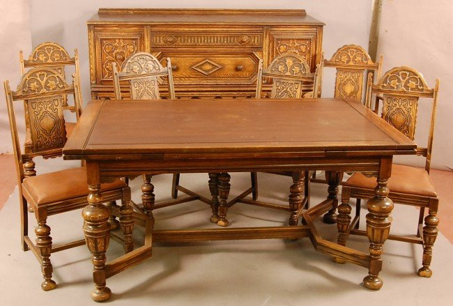 549 Jacobean style 1920s Oak 8 pc Dining room set wi  : 93982681l from www.liveauctioneers.com size 650 x 439 jpeg 71kB
