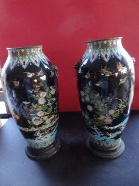 Important Pair Of Meiji Cloisonne Tsunami Vases