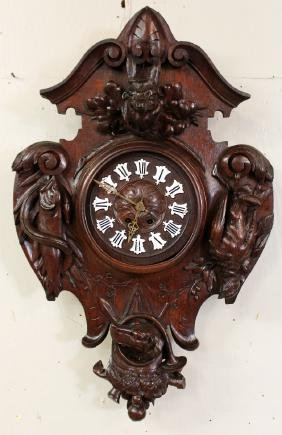 French Louis Xiii Walnut Cartel Clock With Relief