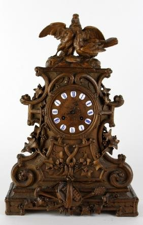 French Black Forest Gueret Freres Clock With Birds